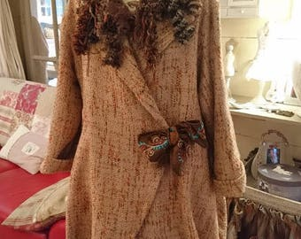 LILY coat in wool Shabby boho chic, Bohemian, Victorian, Bohemian vintage