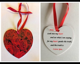 Double sided Heart Ornament, Valentines Day, Roses, love, gift
