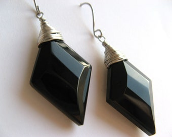 Geometric Shape Diamond Black Celestial Crystal Faceted Wire Wrapped Earrings