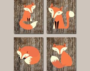 Fox Nursery Decor Fox Wall Art Prints Or Canvas Boy Nursery Decor Fox Nursery Art Woodland Nursery Woodland Animals Set of 4