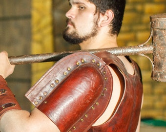 Medieval Leather Gladiator's Pauldrons | gladiator's armor | warrior pauldrons | viking pauldrons | leather armour artificial aging |