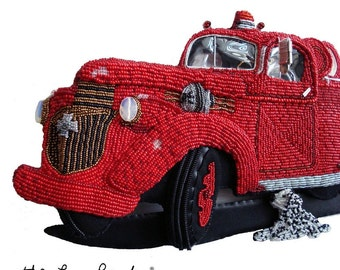 Beaded Fire Truck Wall Art 1943 Chevy - Bead Embroidery Gift for Firefighter - ENGINE CO. 6 (a) (s)