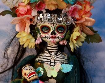 Beautiful Mortal Dia De Los Muertos Skeleton Doll  Canon PRINT 547 Reproduction by Michael Brown