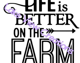"Life is Better at the Farm Permanent Vinyl Decal Sticker 5"" x 5"""