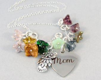 Owls Wildflowers for Mom,Necklace,Owl Jewelry,Owl,Bird In Handmade,Flower Jewelry,Flower Garden,Wild Flower,wildflower necklace