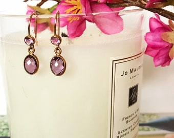 Amethyst Gold Earrings | Dangle Earrings | Amethyst gemstones | Gemstone Earrings | Gold Earrings | Purple Jewelry | Gift | For her