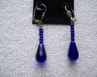Cobalt Blue Single Dangle Earrings