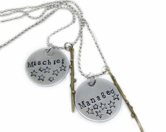 Custom Best Friend Necklace for 2, Mischief Managed Wizard Best Friend Necklace Set, Friendship, Jewelry, Geekery, Couples Necklace