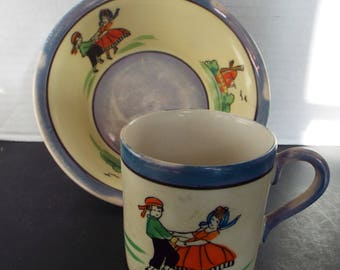 Japan blue lusterware child's  dishes cup cereal  bowl hand painted blue yellow dancing children windmill