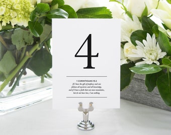 Bible Verse Printable Table Numbers (Numbers 1-20) - Bible Verses about Love, Wedding Reception Decor