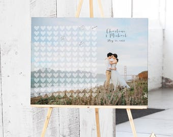 Guest Book Alternative with HEARTS - Rustic Photo Guest Book - Wedding Sign In Book - Wedding Photo Book - Engagement Photo Guest Book