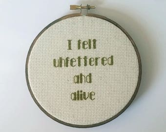 I felt unfettered and alive Cross Stitch