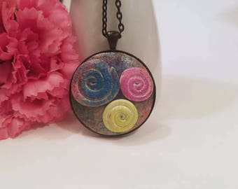 Conversation Piece Jewelry, Colorful Contemporary Polymer Clay Necklace, One of a Kind, Spiral Design, Multi Color Jewelry, Blue Pink Yellow
