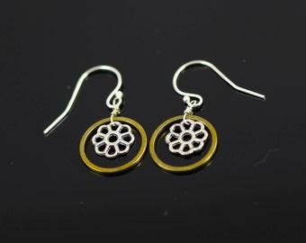 Golden Hoop With Flower Earrings, Mixed Metal Earrings, Silver Hooks Earrings