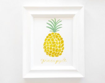 Hand-Painted + Hand-Lettered 8x10 Pineapple Print - FRAMED