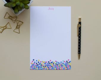 Confetti Notepad, Personalized Notepad