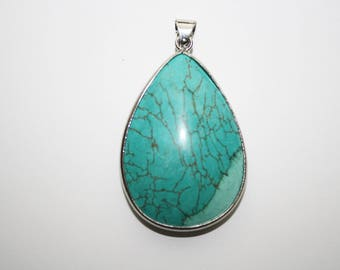 Turquoise Teardrop Pendant, Statement Pendant, Necklace Pendant, Jewelry Making, - 54x33mm - 1ct - #193