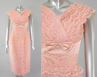 Sabrina pink lace rhinestone dress | 50s lace dress | vintage ets50s party dress