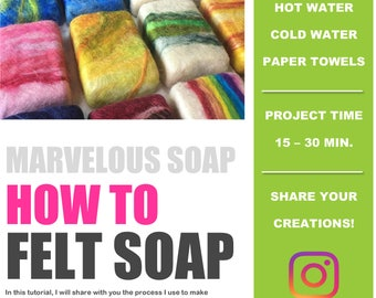 Felted Soap Kit DIY tutorial How to Felt Soap PDF only Fiber Art make your own felted soap