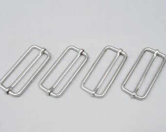 10 Silver 2 Inch (51mm) Strap Adjusters / Buckles / Sliders