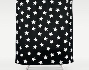 Kids Shower Curtain, Stars, Kids Bathroom Decor, Black and White Shower Curtain, Fabric Shower Curtain, Standard, Extra Long Shower Curtain