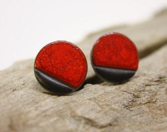 Red Ceramic earrings/ Silver stud earrings/ Geometric earrings /Circle earrings / Ceramic earrings/ Great mothers day gift