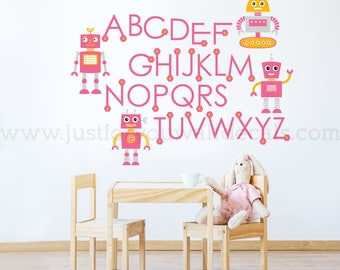 Alphabet Wall Decal, Playroom Wall Decal, Nursery Wall Decal, Alphabet Decal, Robot Wall Decal, Robot Alphabet Wall Decal, Robot  01-0039