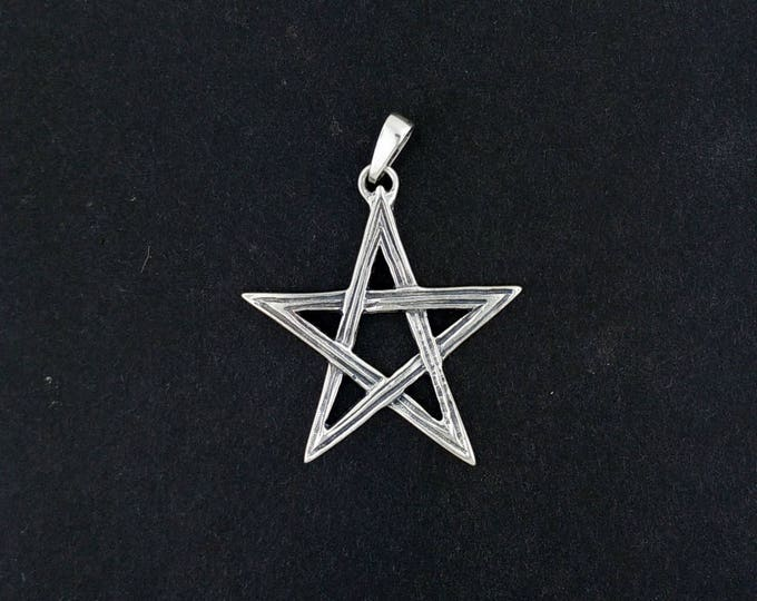 Lined Pentagram Pendant in Sterling Silver