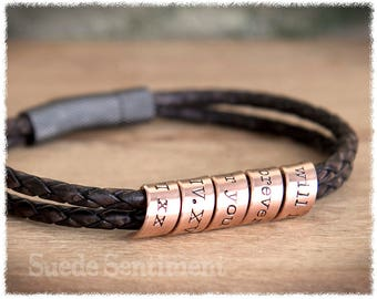 Mens Personalized Bracelet • Anniversary Gifts For Men • Boyfriend Gift • Long Distance Relationship • Copper Anniversary