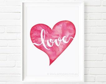 Printable Art, Watercolor Love Heart, Wedding print, kid print, anniversary print, Valentines gift, home decor, wall art, nursery decor