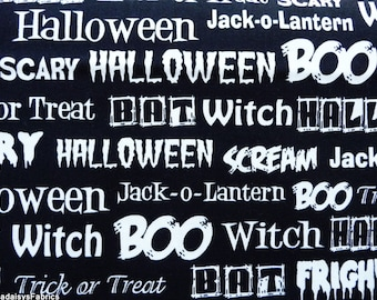 Halloween Words Fabric, Fright Night 33659 Windham Fabrics by Whistlers Studio, Black and White Halloween Fabric, Halloween Typography, Text