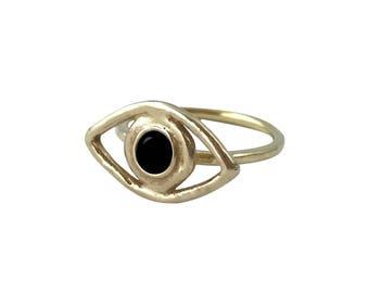 Black Onyx Perception Ring // Black Onyx Eye Ring, All Seeing Eye, Evil Eye