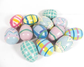 Vintage Painted Wood Easter Eggs - Set of 13 Painted Pastel Easter Eggs