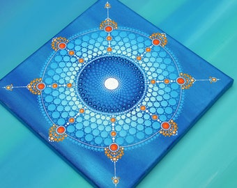 Snow Guard-Mandala hand painted on canvas, original point-art painting acrylic paint winter gift Decoration