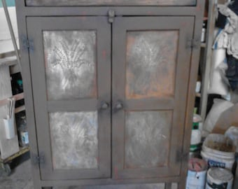 Primitive Pie Safe Cabinet With Antiqued Punched Tin