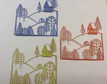Handmade, 3 Trees and House on Hills, Orange, Green, Blue, Die Cuts, Sizzix