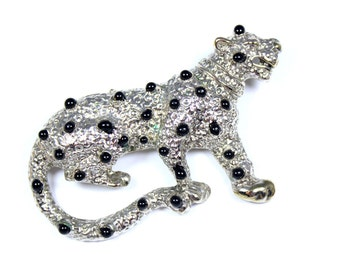Vintage leopard brooch, silvertone leopard pin, black enamel spots, big cat brooch, feline jewelry, cat pin, wild animal, safari