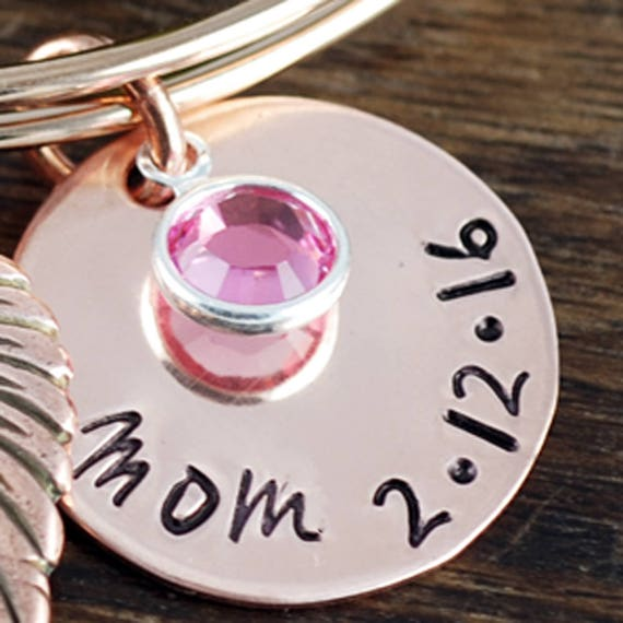 "Add On - 3/4"" Name & Date Charm with Birthstone for Bangle Bracelets"