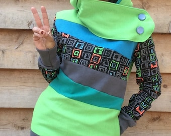 VIDEO GAMER Hoodie Sweatshirt Sweater Handmade Recycled Upcycled One of a Kind Ladies SMALL - Neon 80s Funky Retro