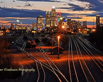 Charlotte Skyline at night 6, North Carolina: archival print signed and matted