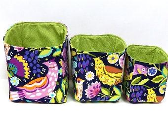 Fabric Box Organizers, Cloth Storage Bins, Fabric Storage Baskets, Storage Cubes, Colorful Birds and Flowers