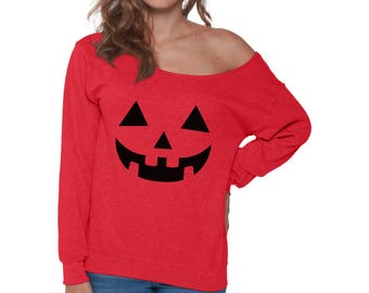 Jack O' Halloween Pumpkin Off Shoulder Sweatshirt for Women Halloween Funny Easy Costume