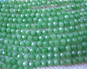 4mm Apple Green Dyed Color Jade Faceted Round Beads S249