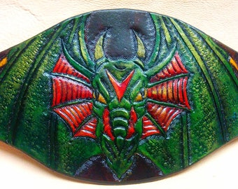 Bracelet, dragon head, green and red leather, fully engraved and hand painted