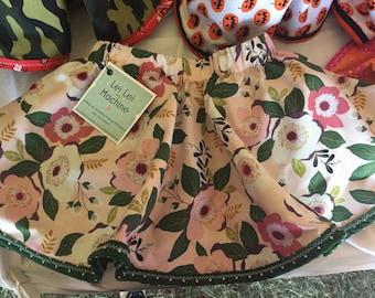 Flowers and Polka dots reversible circle skirt