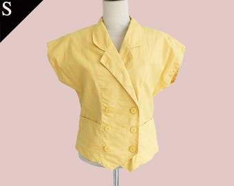Vintage Japan 80s double breasted pocket blouse top/ Yellow / Small