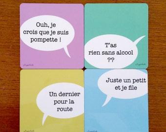 4 sous-verres en bois personnalisables - les clichés de l'apéro - 4 phrases typiques des soirées entre amis.