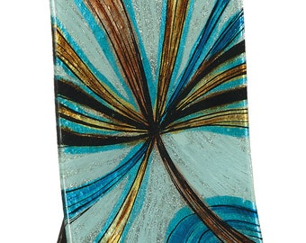 "Handcrafted Art Glass Clock - Cozenza Glassware - Infinite Swirls 11 1/2"" Clock"