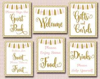 Pink And Gold Baby Shower Table Signs, Set Of 6 Printable Tassel Baby  Shower Signs INSTANT, Welcome, Drinks, Food, Gifts, Treat, Guest 012