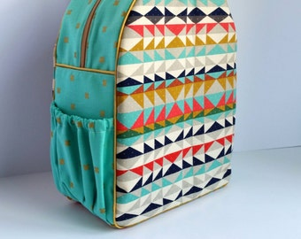 Childrens Backpack, Diaper Bag, Preschool Backpack, Kindergaten Backpack, Custom, Kids Backpack, Toddler Backpack, Aztec Geometric